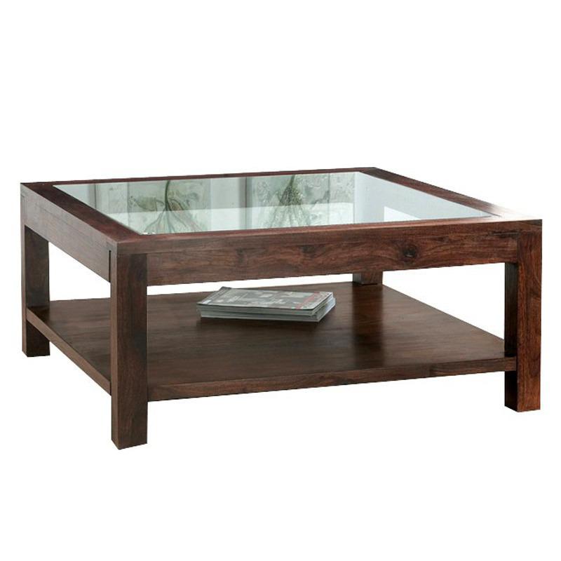 Tavolino etnico quadrato con cristallo tavolini salotto for Tavolino con vetrina