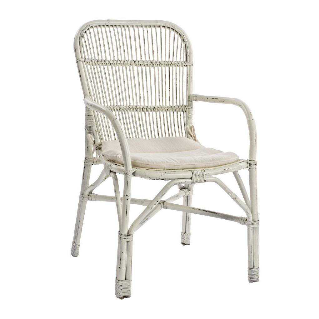 Sedia con braccioli rattan bianco etnico outlet mobili etnici industrial shabby chic - Sedia in rattan ...