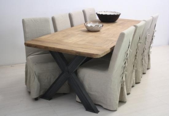 Tavolo legno naturale base ferro etnico outlet mobili etnici - Tavolo legno e ferro ...