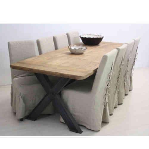 Tavolo legno naturale base ferro etnico outlet mobili etnici for Tavolo legno grezzo bianco