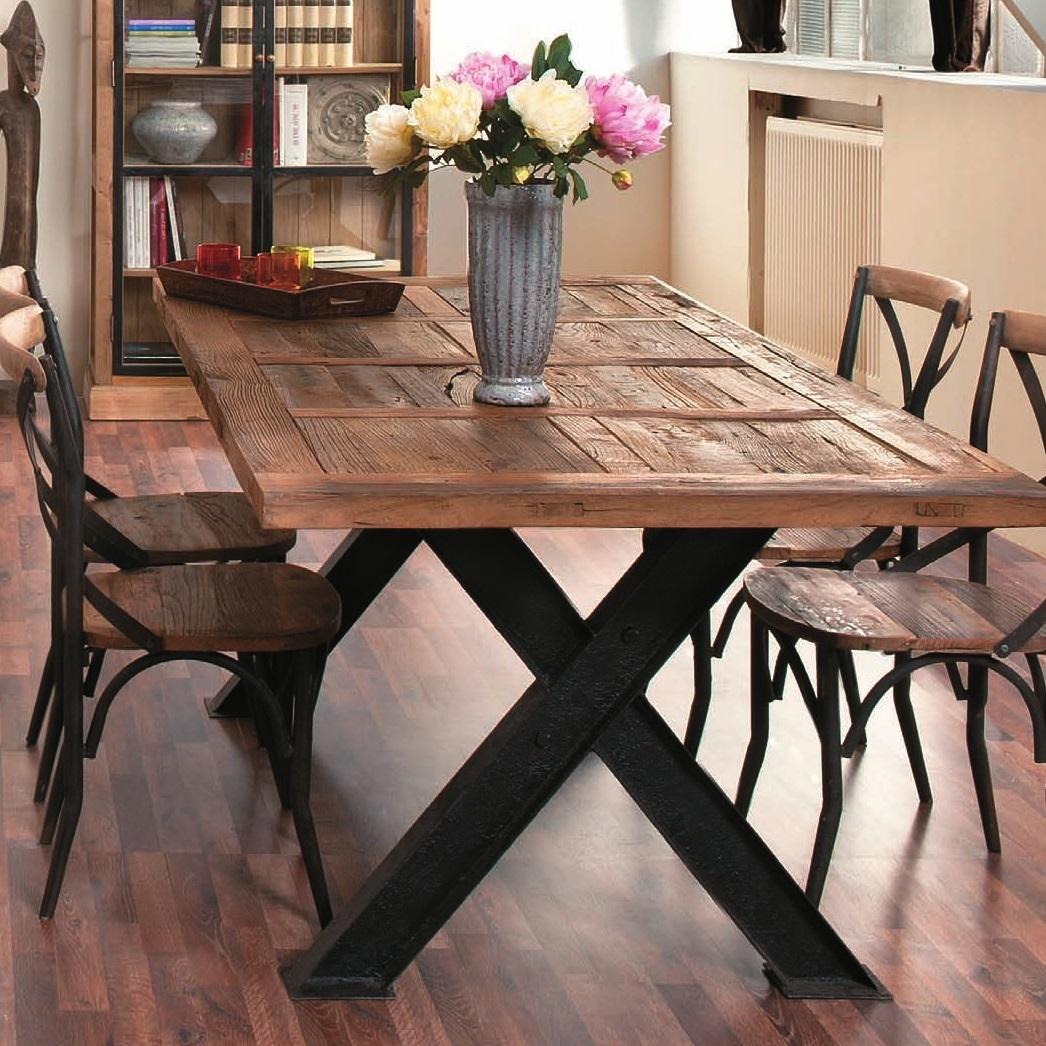 TAVOLO VINTAGE BASE FERRO tavoli etnici legno industrial AGR811-084  eBay