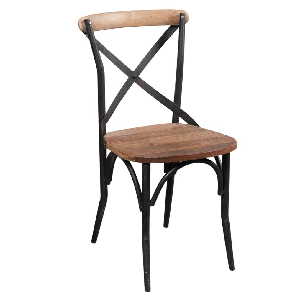 Sedia cross legno e ferro outlet mobili etnici e industrial for Sedie ferro legno
