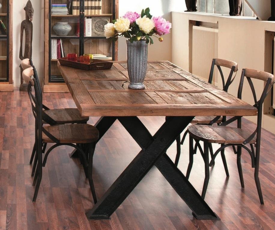 Sedia cross legno e ferro outlet mobili etnici e industrial for Tavolo ferro e legno
