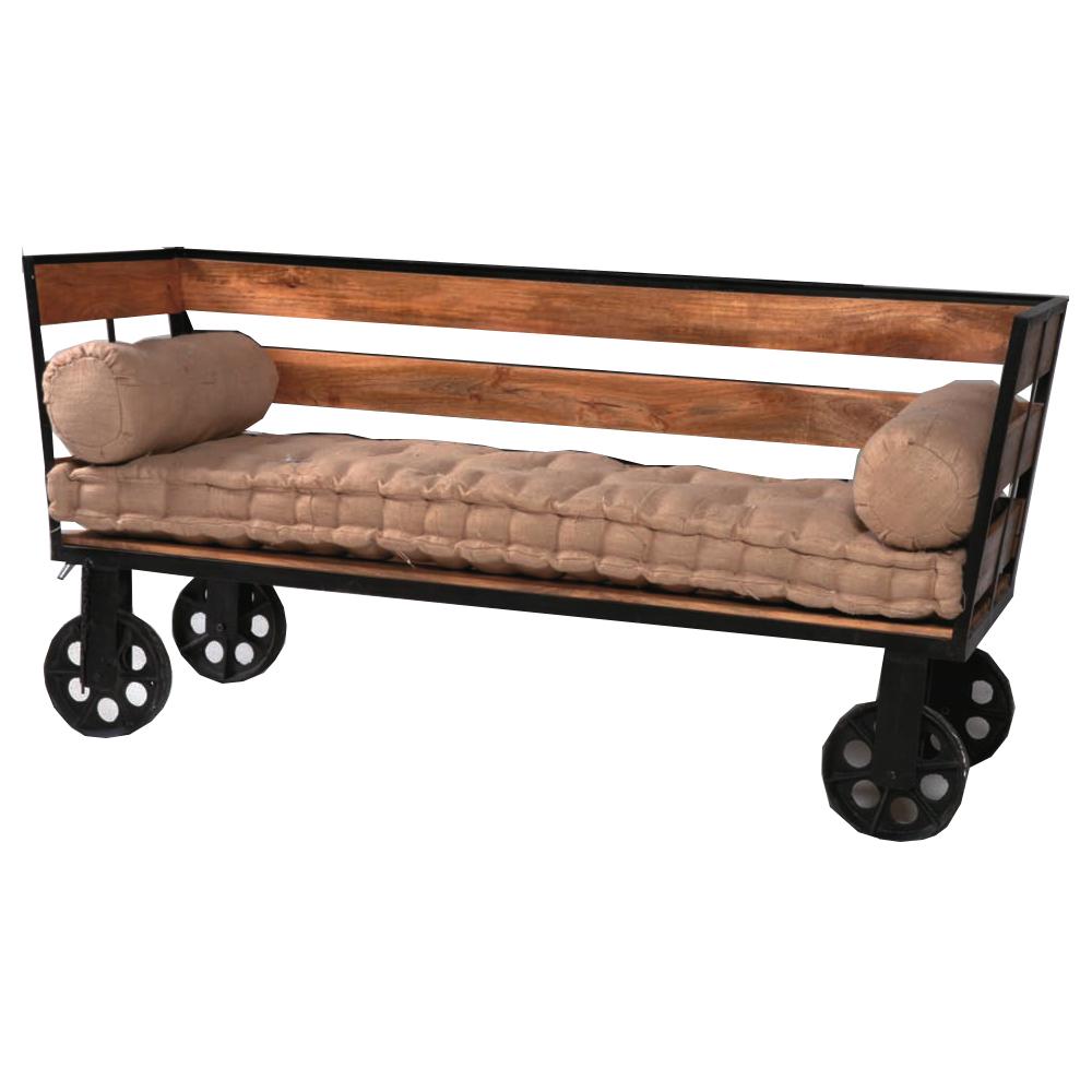 Divano vintage legno e ferro etnico outlet mobili etnici provenzali shabby chic - Mobili in ferro vintage ...