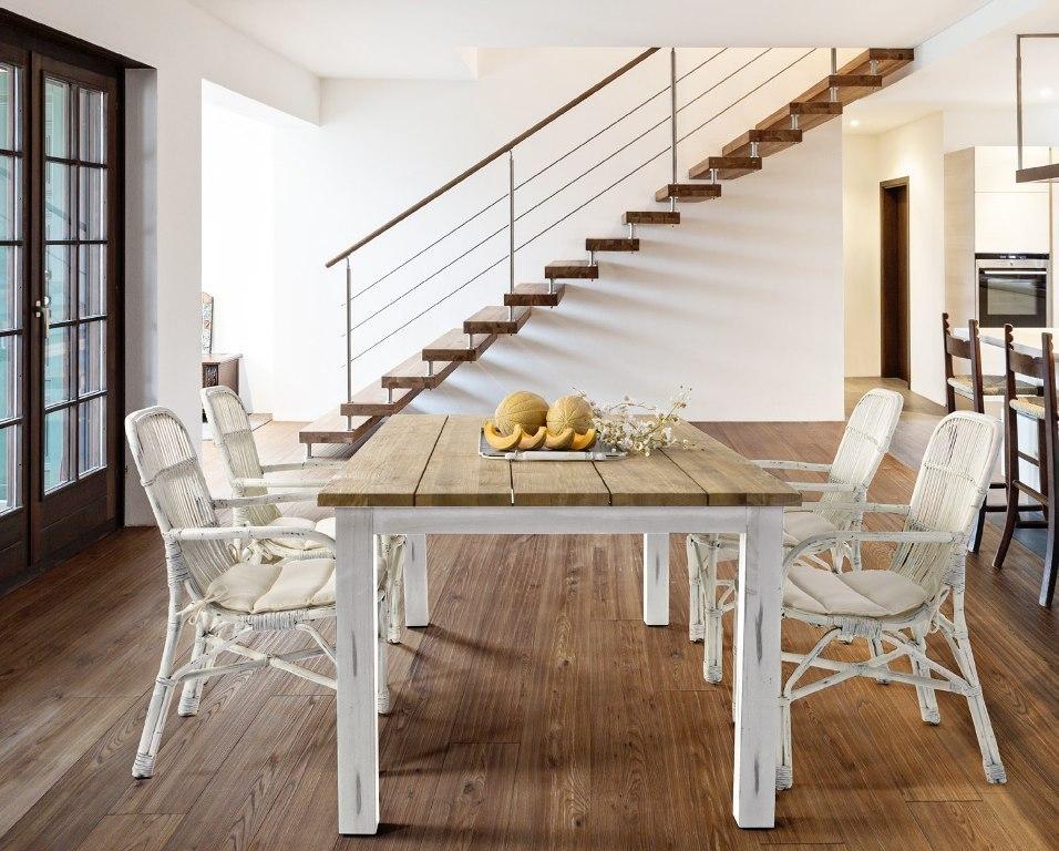 Mobili lavelli tavolo bianco e legno for Tavoli bianchi moderni