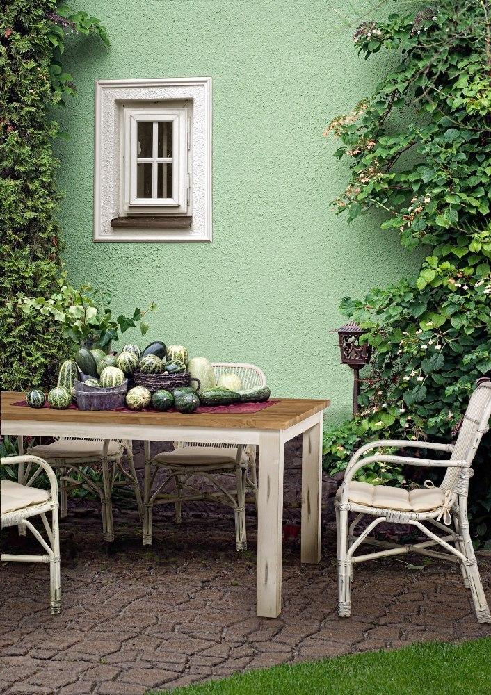 Set tavolo e sedie shabby giardino bianco offerte online for Tavolo cucina shabby chic