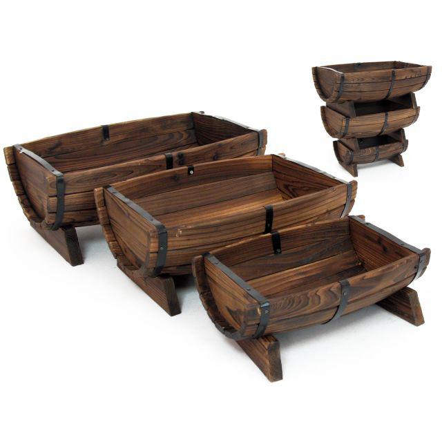 set 3 portavasi legno di abete etnico outlet mobili
