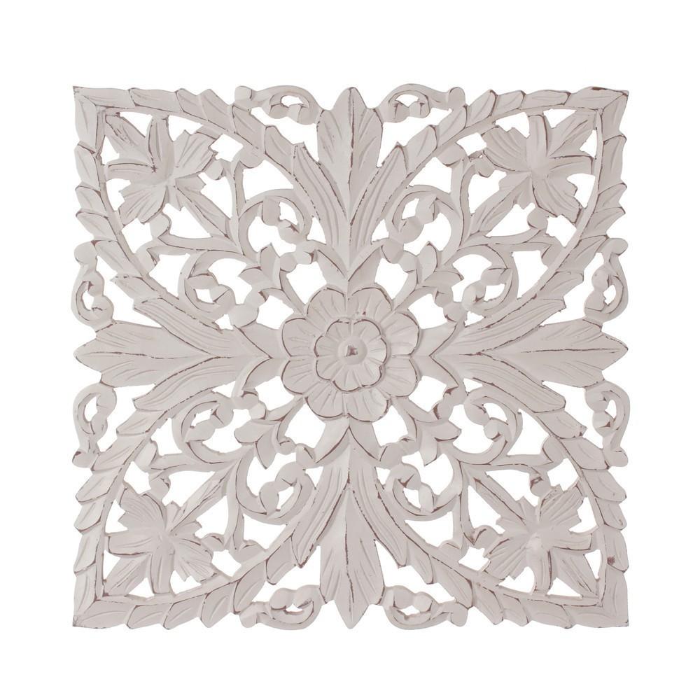 Murale da parete in legno intarsiato bianco shabby chic 40x40 ix51174 ebay - Parete shabby chic ...
