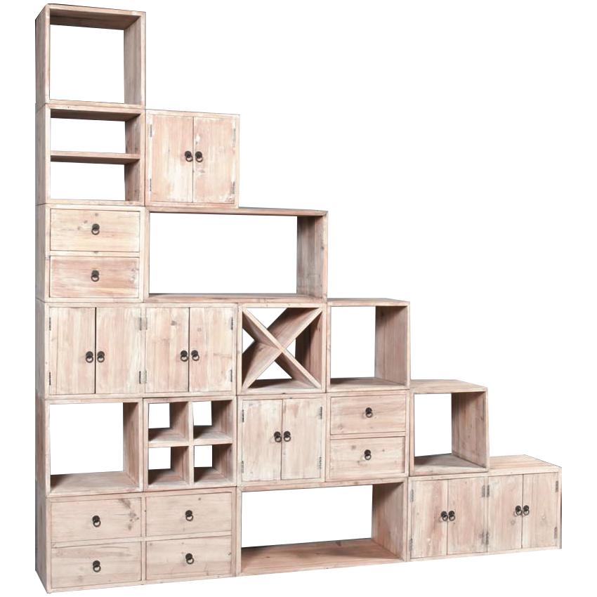 Cubo legno bianco shabby etnico outlet mobili etnici for Librerie in legno componibili