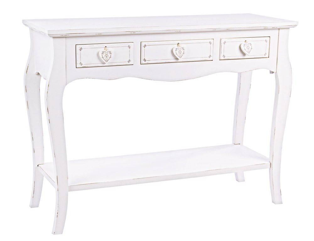 Consolle shabby chic bianca mobili provenzali online for Consolle bianca