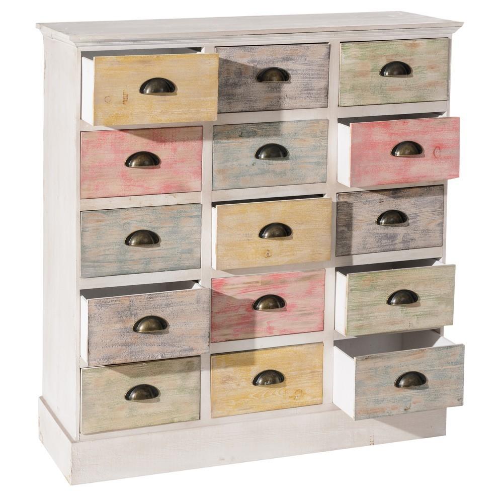 Cassettiera legno multicolor mobili shabby chic online for Cassettiera legno