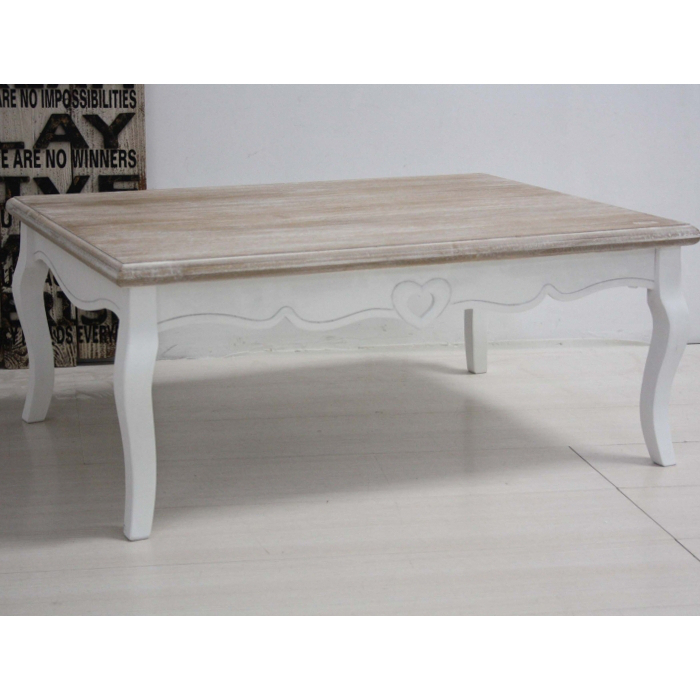 Tavolino legno bianco shabby francese - Etnico Outlet