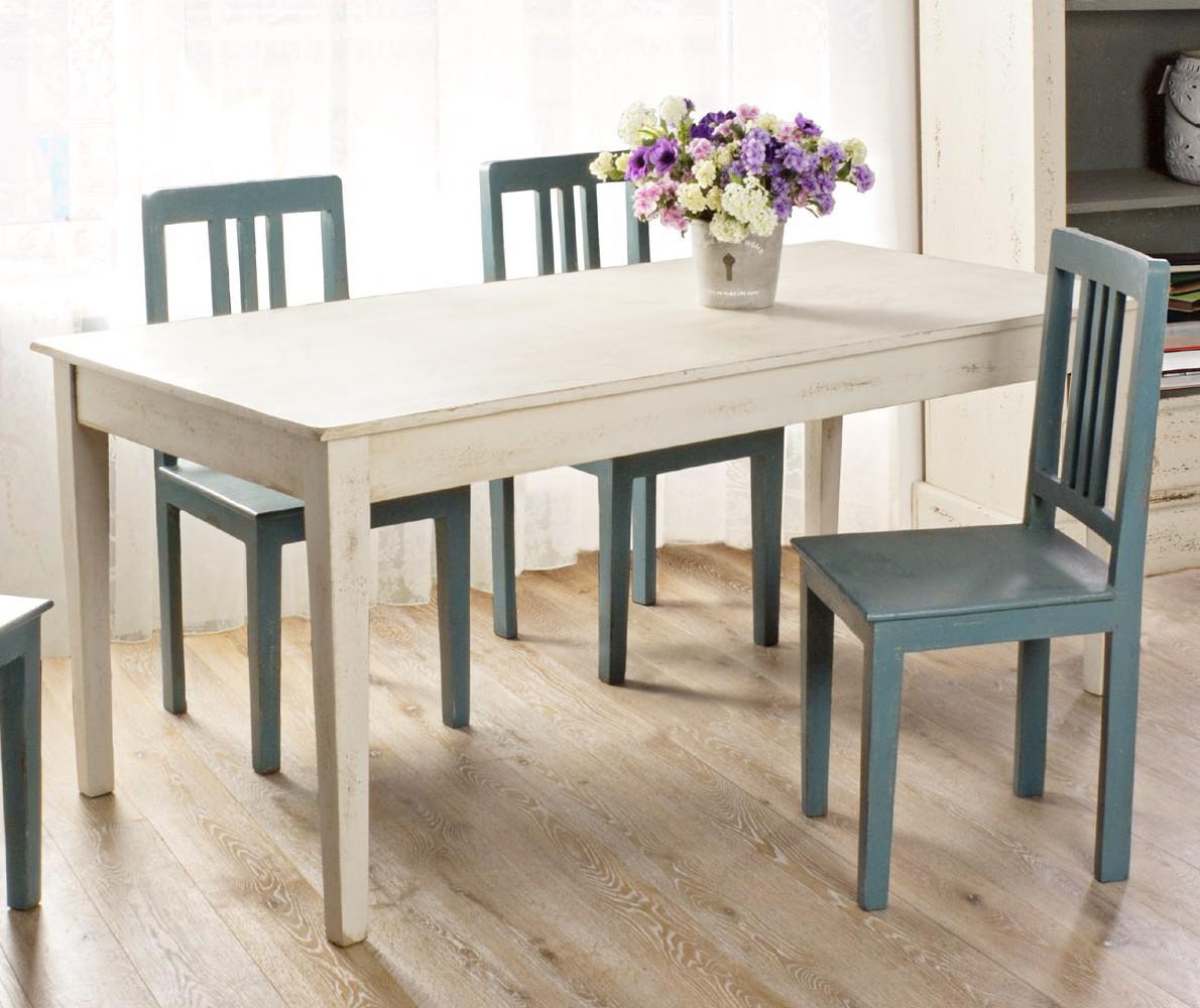 Tavolo bianco anticato mobili provenzali shabby chic - Tavolo bianco anticato ...