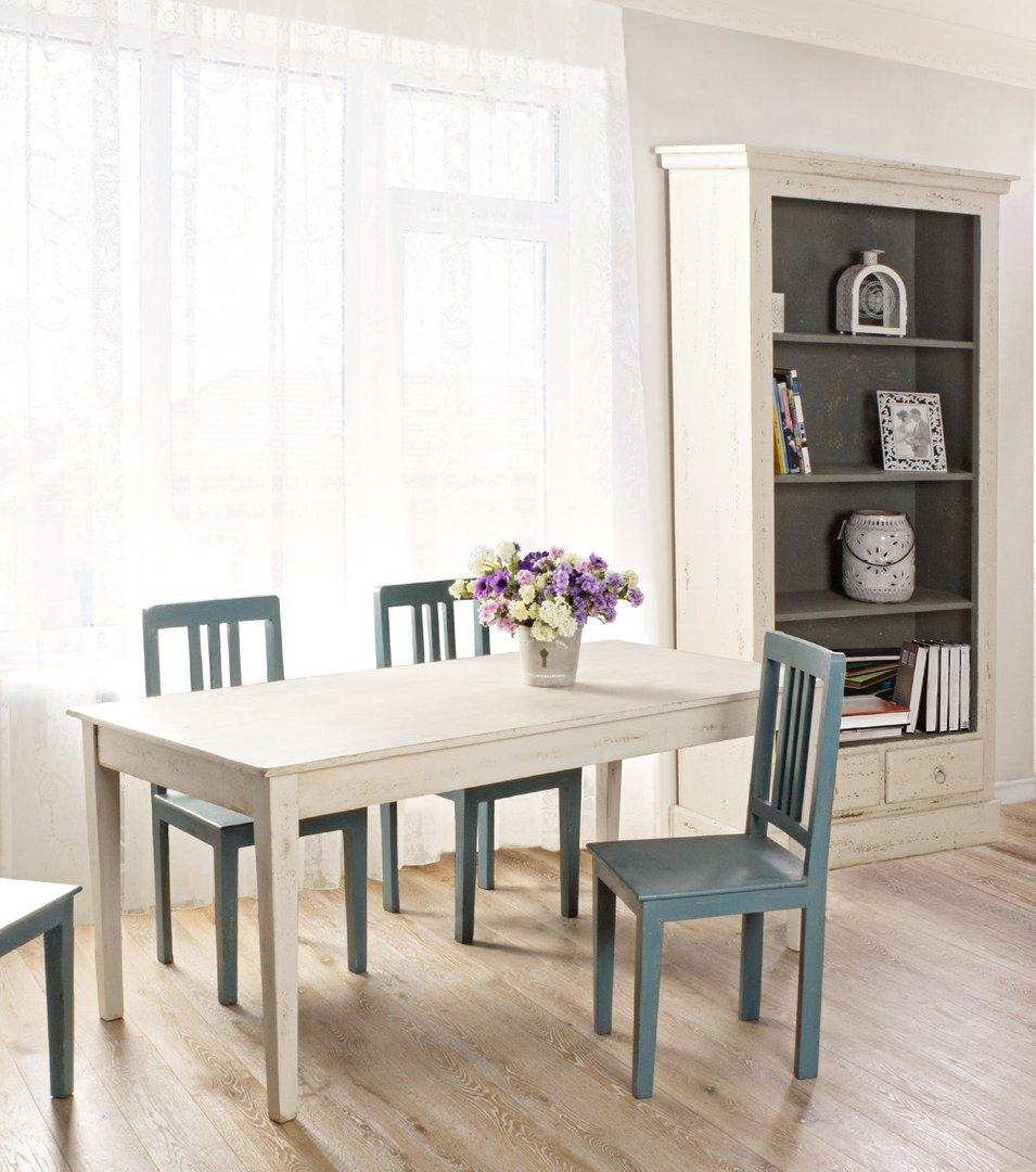 Tavolo bianco anticato mobili provenzali shabby chic for Mobili legno bianco anticato