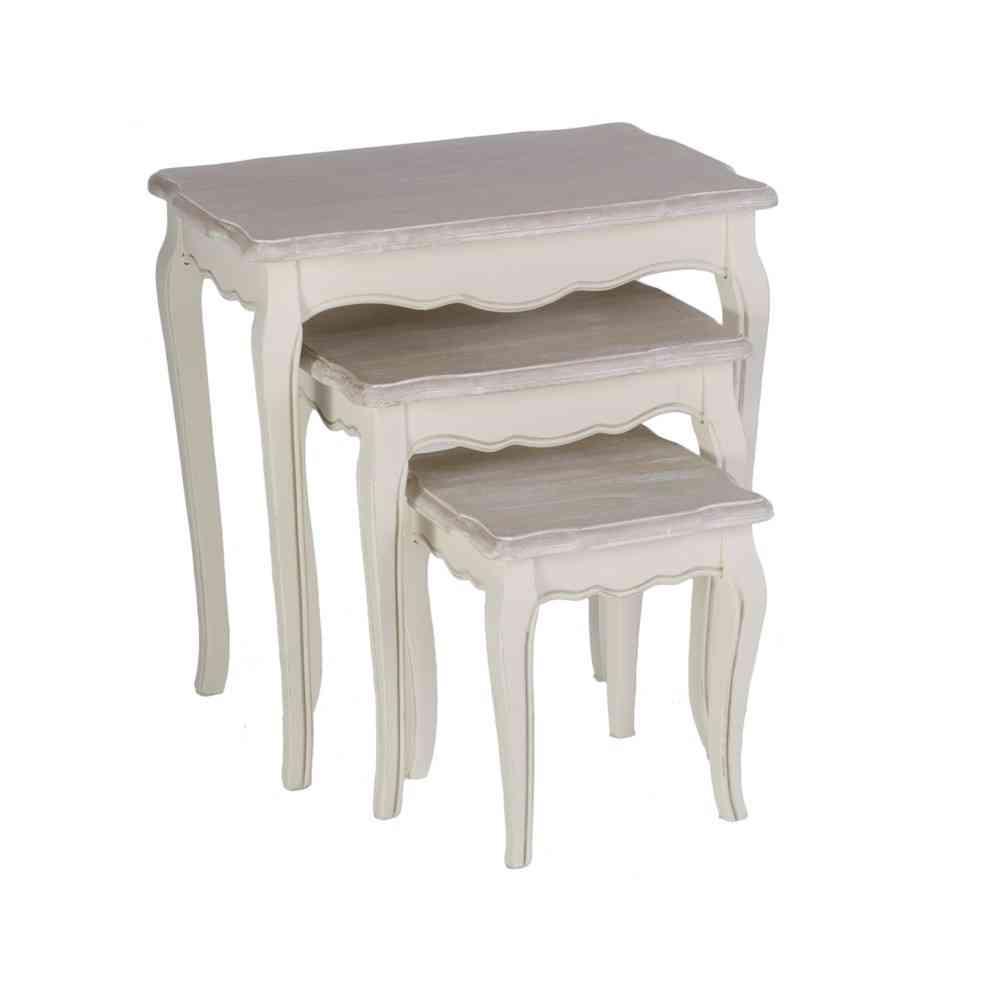 Set 3 tavolini legno shabby chic   etnico outlet mobili etnici