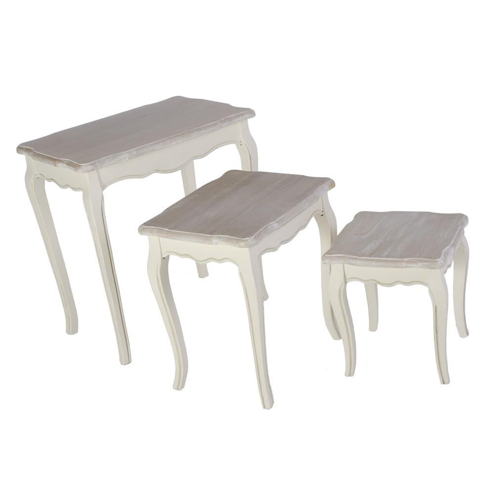 Set 3 tavolini provenzali bianco crema shabby tavolini - Tavoli bianchi decapati ...