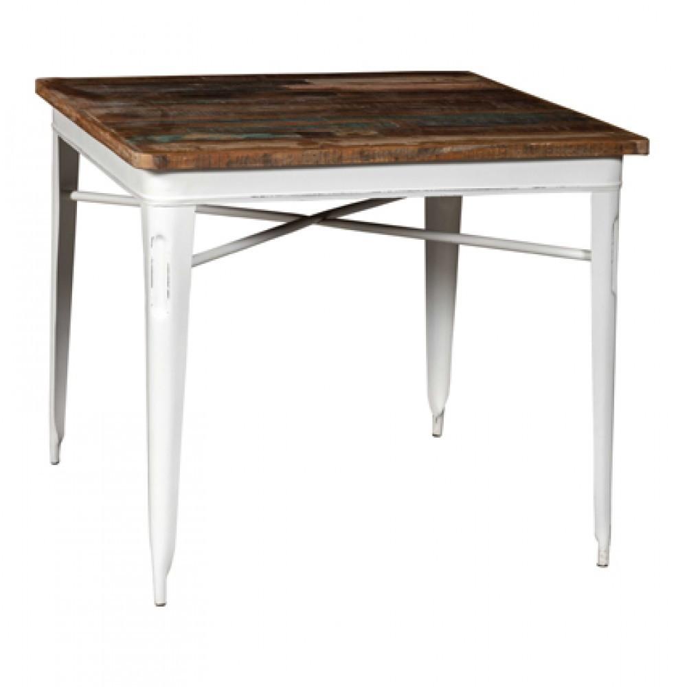 Tavolo legno e ferro industrial bianco - Tavoli vendita online