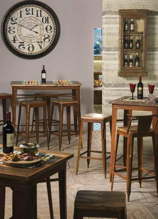 Tavolo bar stile industriale marrone etnico outlet mobili - Tavolo stile industriale ...