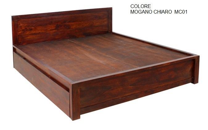 Letto etnico con contenitore matrimoniale mobili etnici online for Letto in legno con contenitore