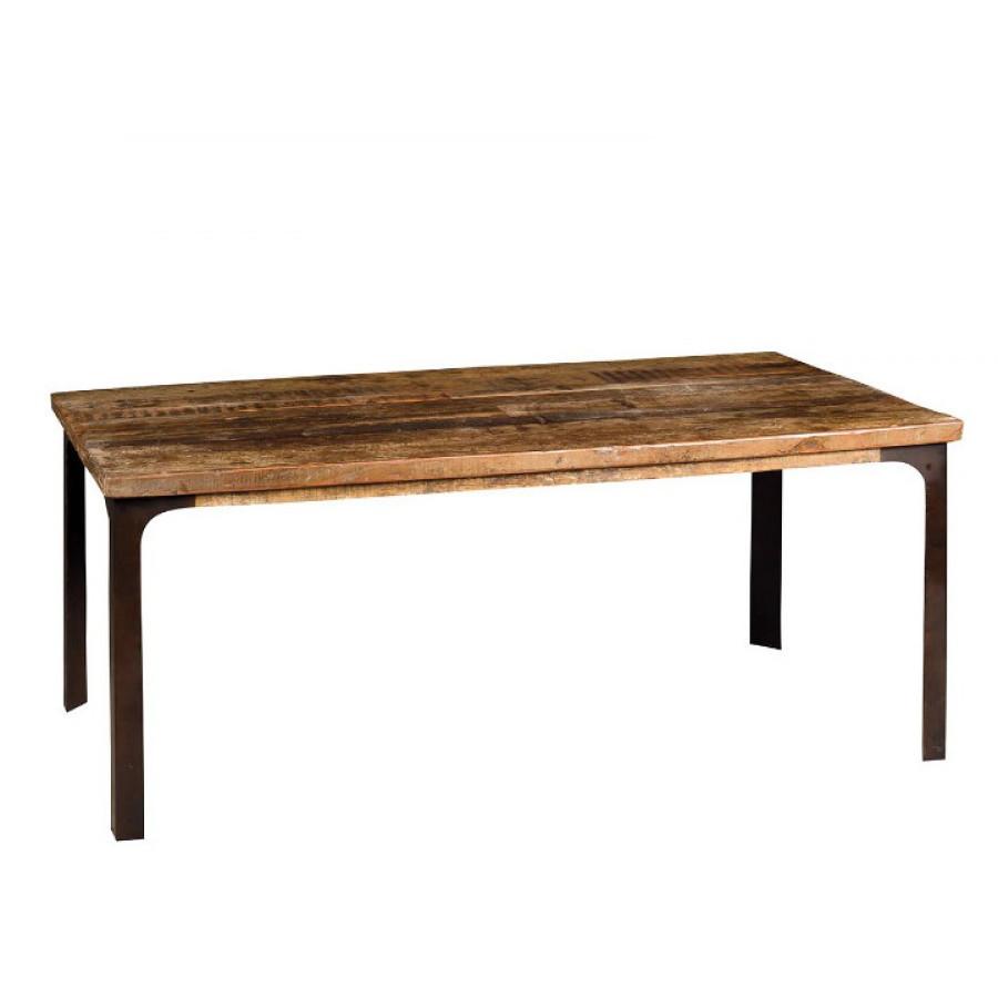 Tavolo legno industrial base ferro mobili sconti vendita online - Tavolo legno e ferro ...