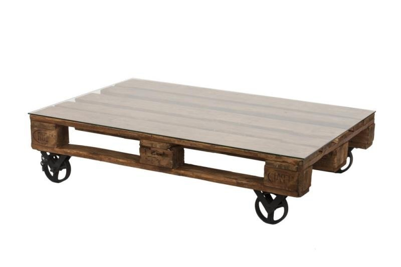 Tavolino bancale con ruote etnico outlet mobili industrial for Tavolino con vetrina
