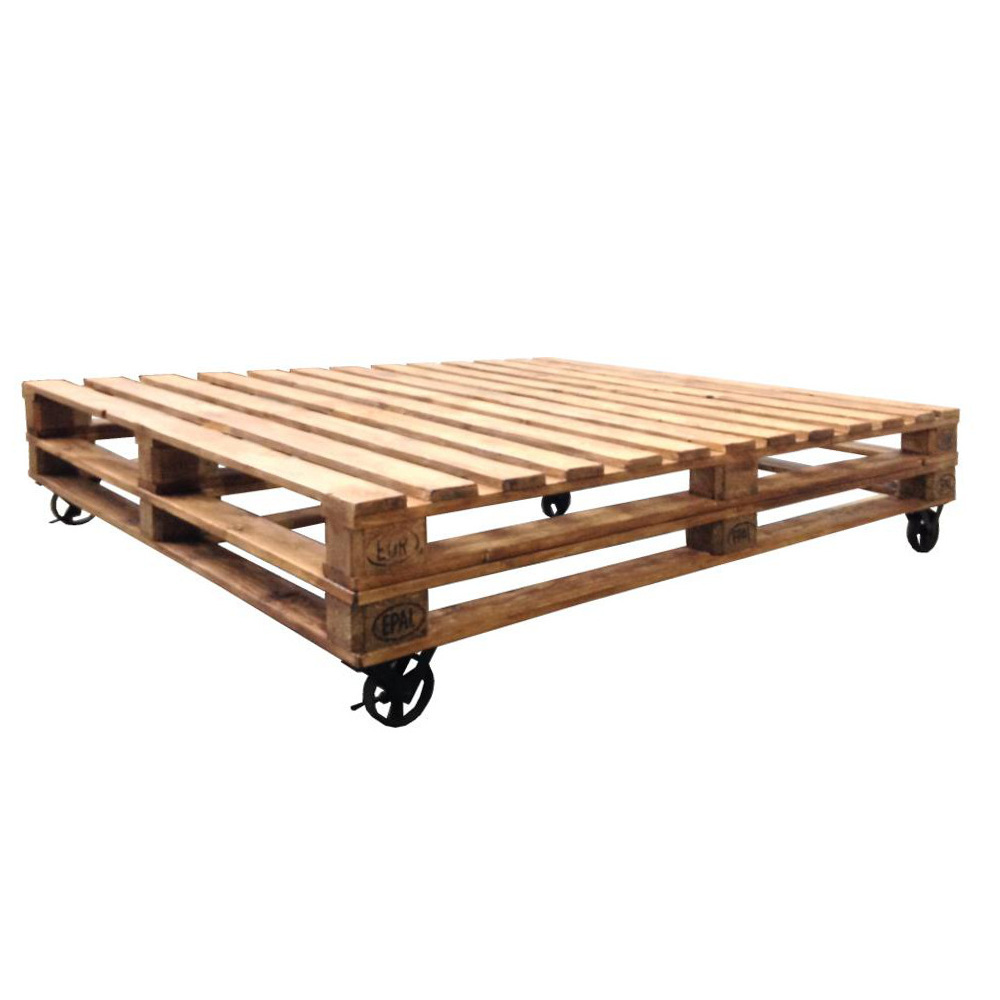Letto bancali con ruote ethnic chic mobili industrial - Mobili con bancali in legno ...