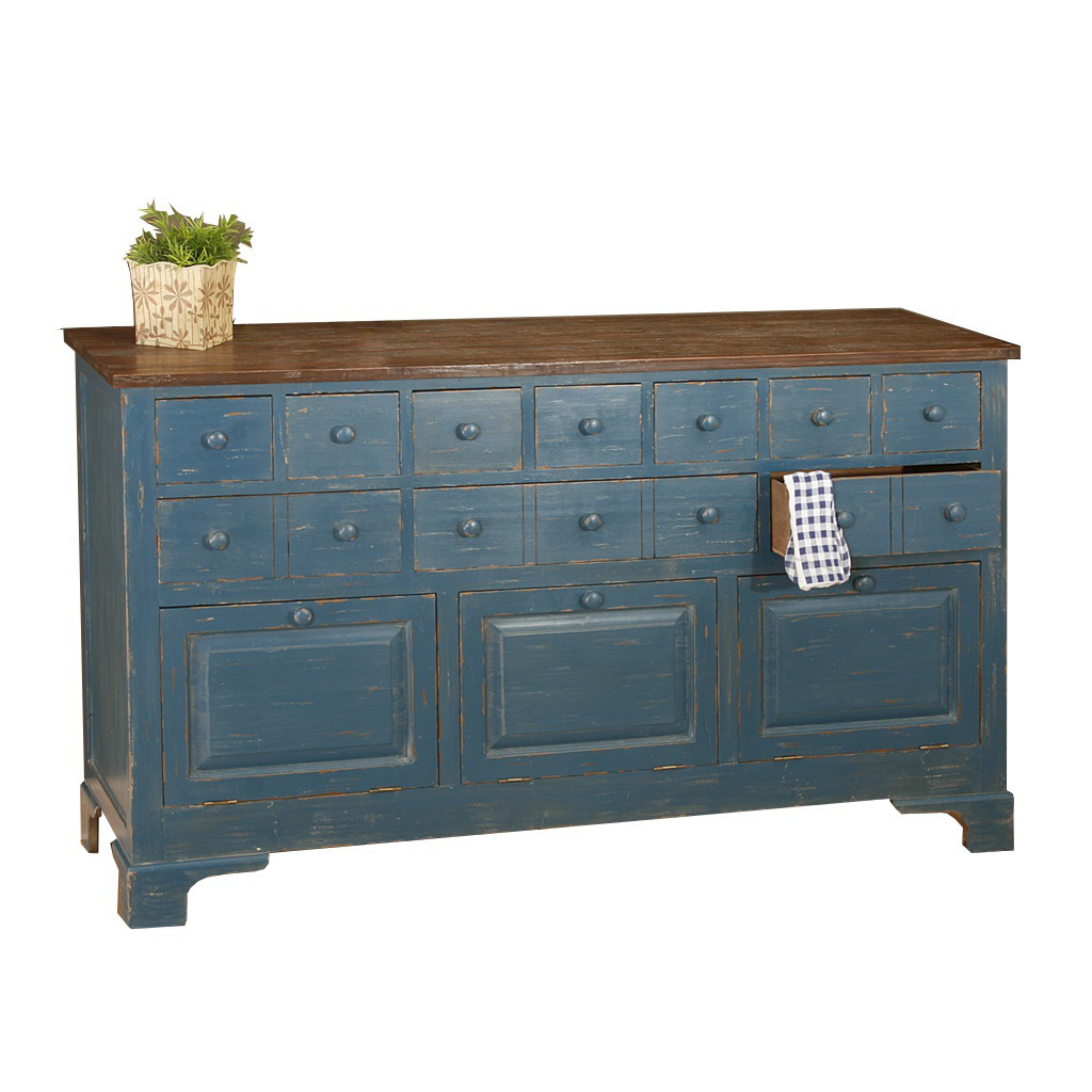 Credenza country anticata credenze etniche colorate in for Cassettiere basse