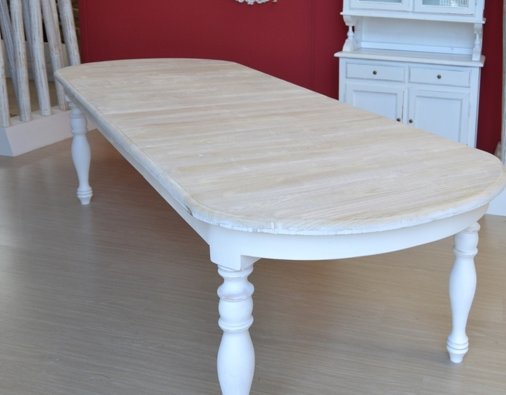 Tavolo ovale bianco shabby chic allungabile mobili etnici for Tavoli bianchi moderni