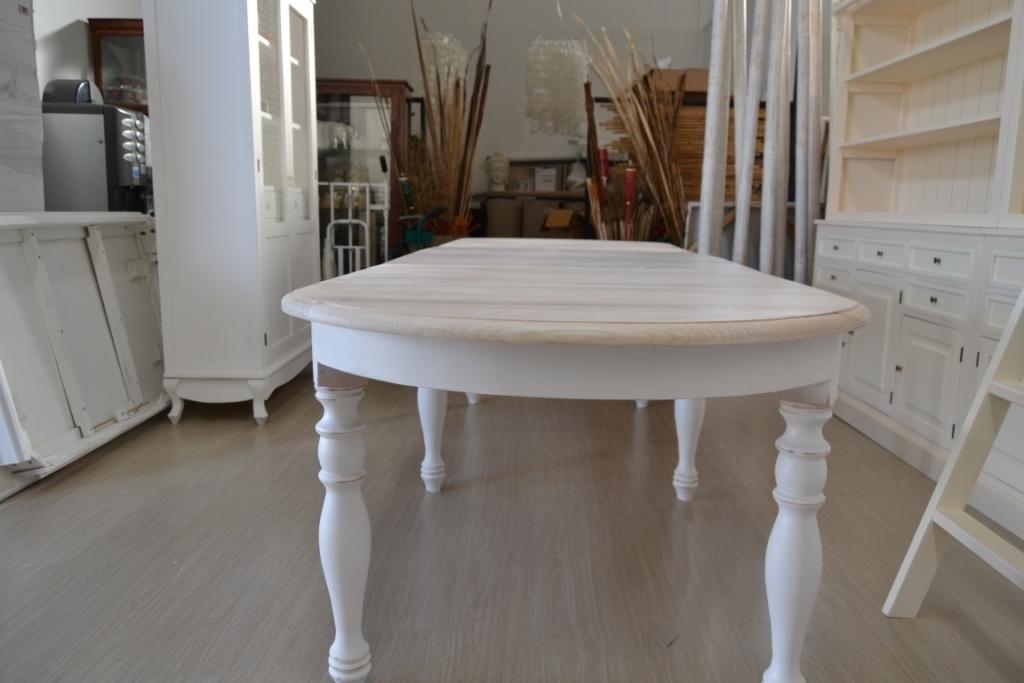 Tavolo ovale bianco shabby chic allungabile mobili etnici - Tavolo bianco ovale allungabile ...