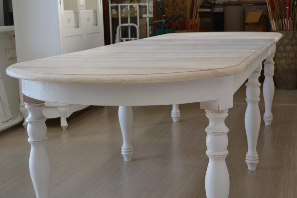 Tavolo ovale bianco shabby chic allungabile mobili etnici - Tavolo shabby ...