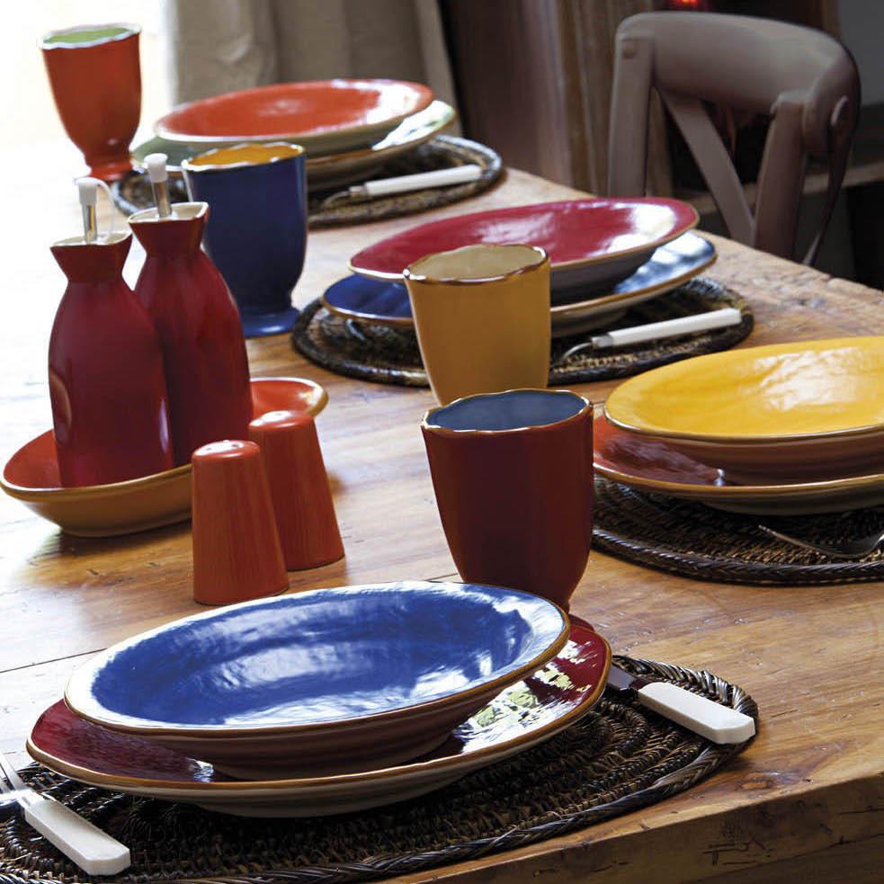 Servizio piatti etnico 18 pz bianco etnico outlet mobili for Piatti e bicchieri colorati