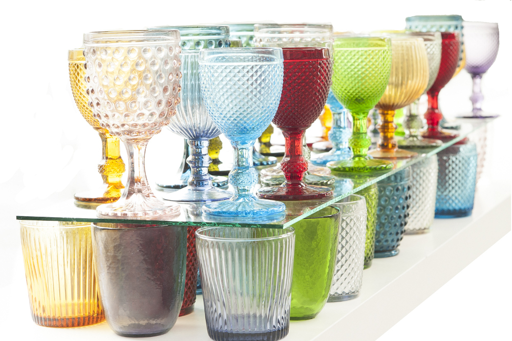 Bicchieri etnici vetro colorati set 6pz acccessori tavola for Bicchieri colorati vetro