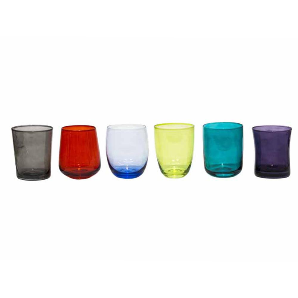 Bicchieri vetro assortiti set 6pz acccessori tavola etnici for Bicchieri colorati vetro