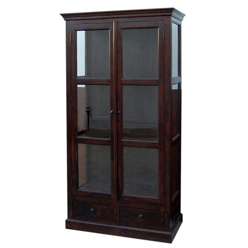 Vetrina libreria con ante a vetro etnico outlet mobili - Libreria con specchio ...
