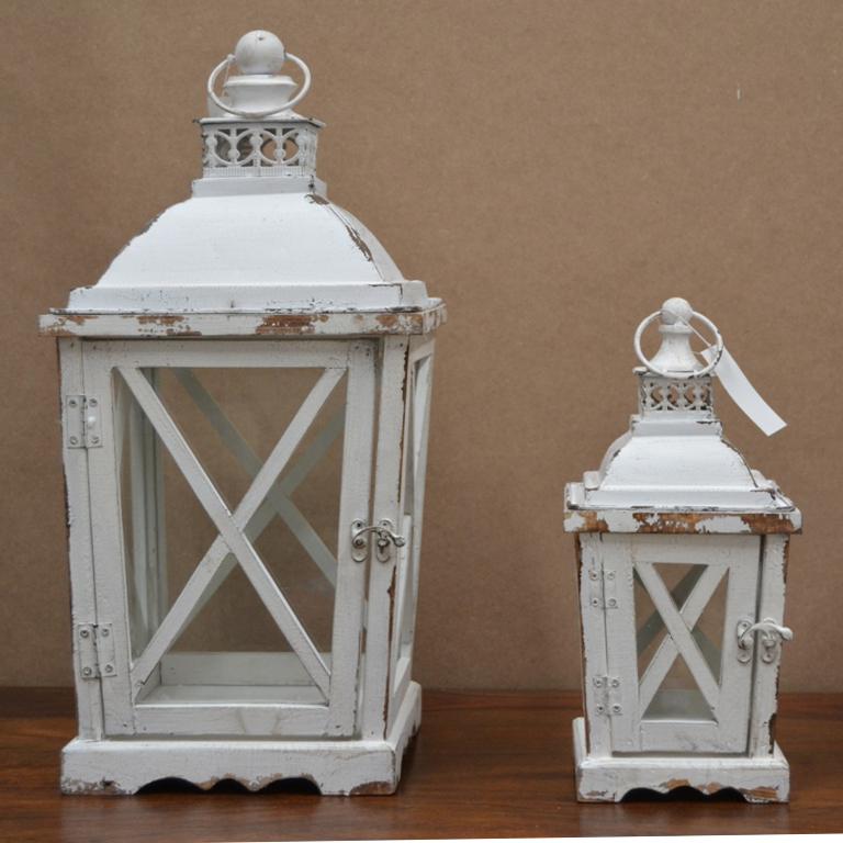 Set 2 lanterne bianche shabby etnico outlet mobili for Lanterne bianche