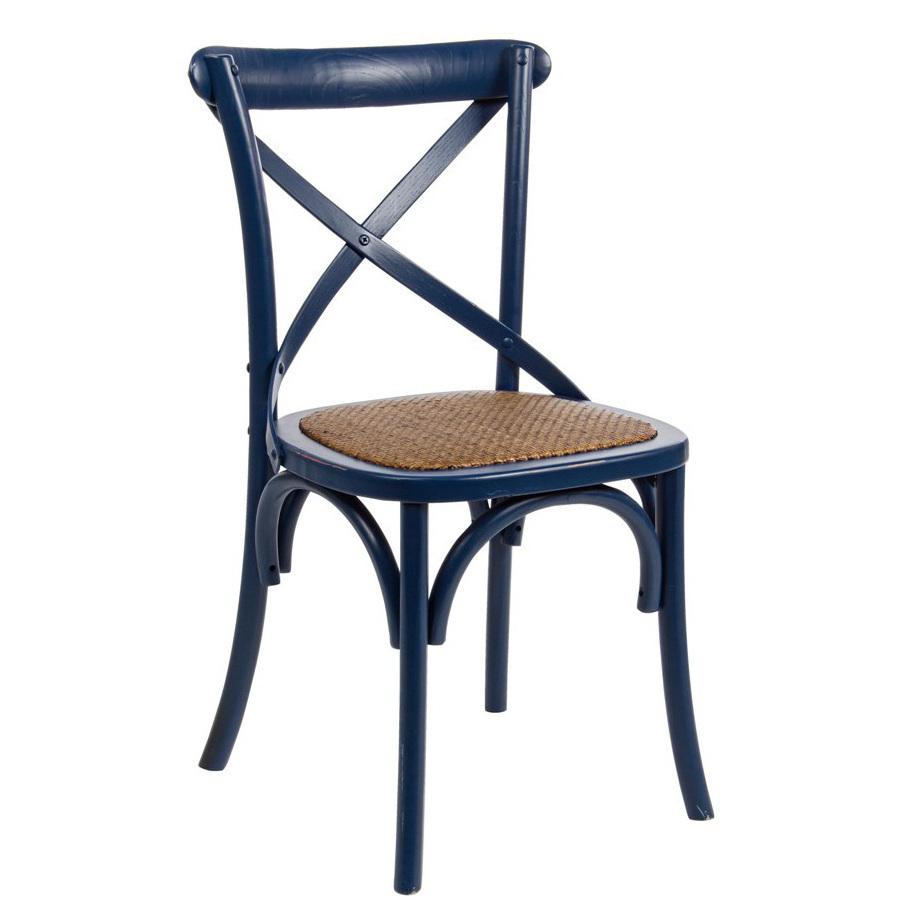 Sedia legno olmo blu shabby Sedie legno massello