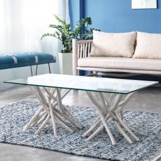 Tavolino con vetro bianco shabby chic Tavoli vetro e legno