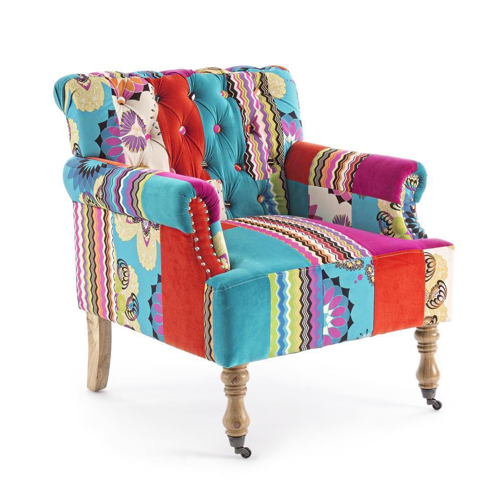 poltrona colorata patchwork divani e poltrone provenzali