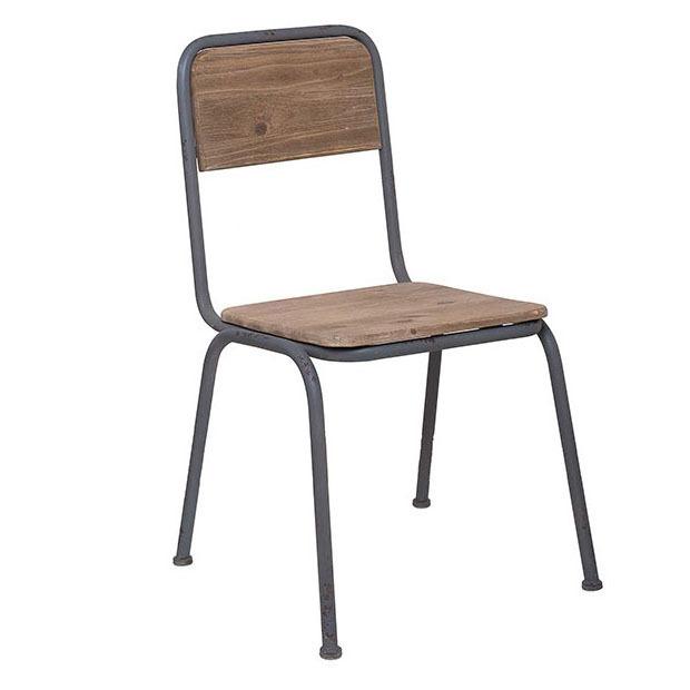 Sedia ferro grigio e legno mobili industrial e vintage - Mobili in ferro vintage ...