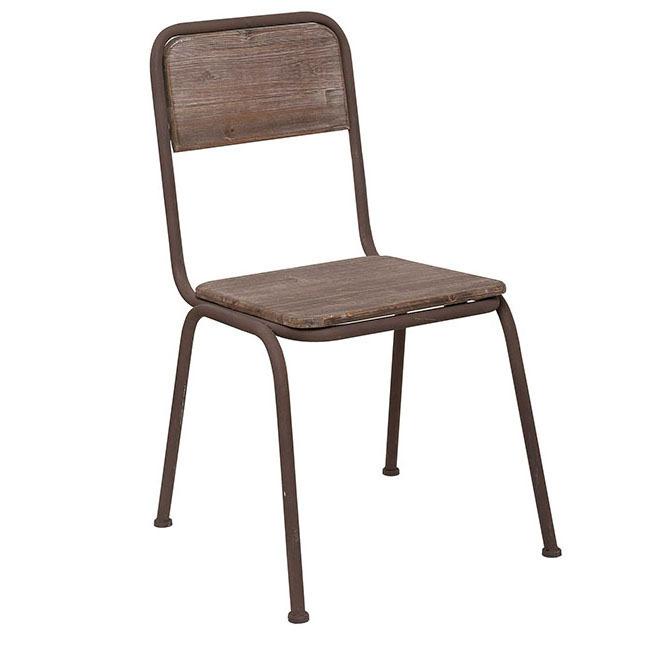 Sedia ferro marrone e legno mobili provenzali industrial for Sedie in ferro e legno