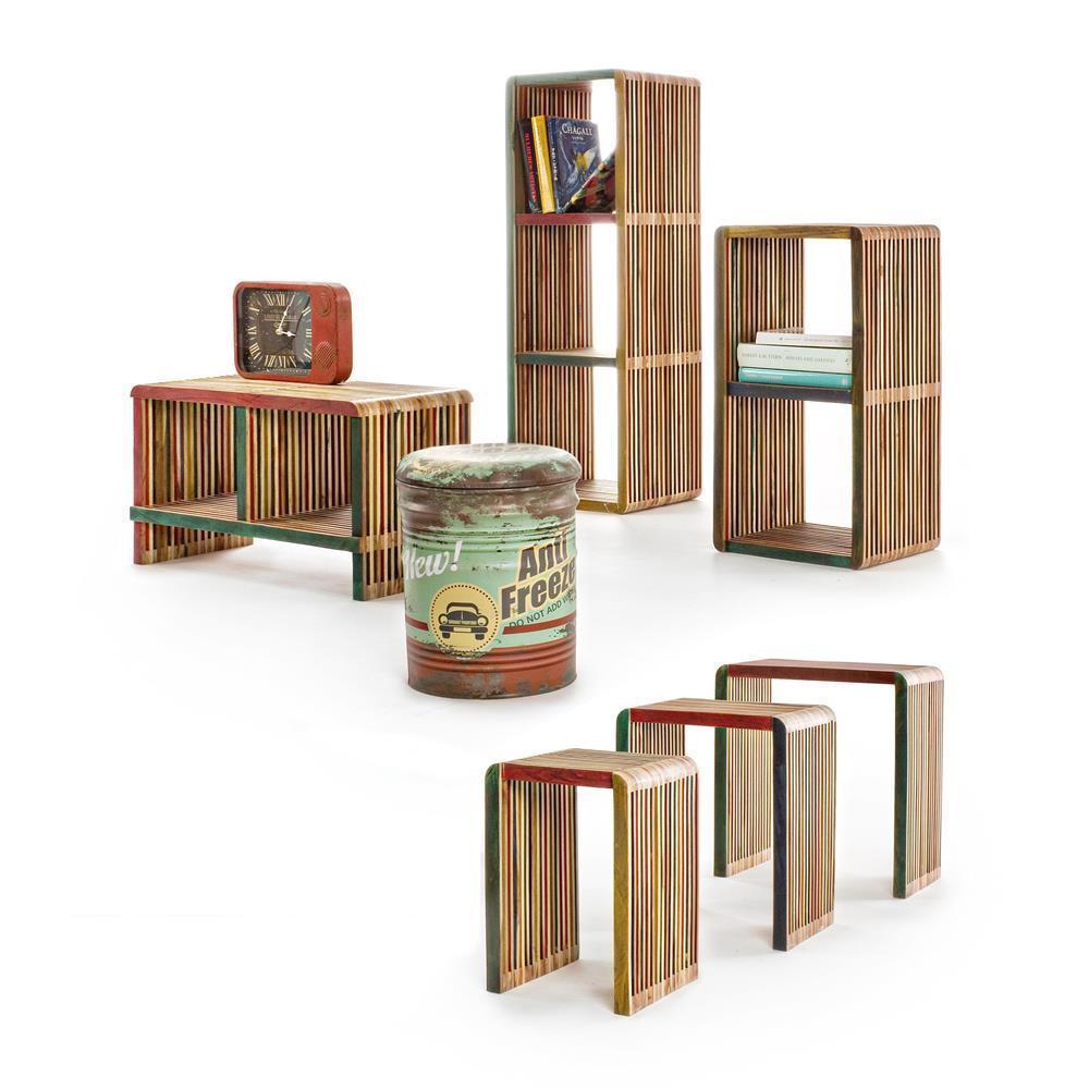 Mobile libreria teak colorato mobili etnici online for Shop mobili online