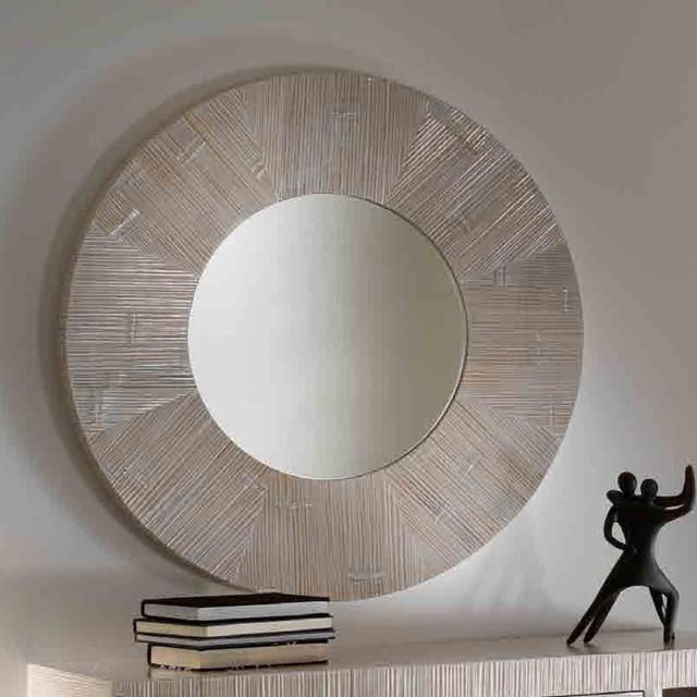Specchio Bamb 249 Tondo Bianco Etnico Outlet Mobili Etnici