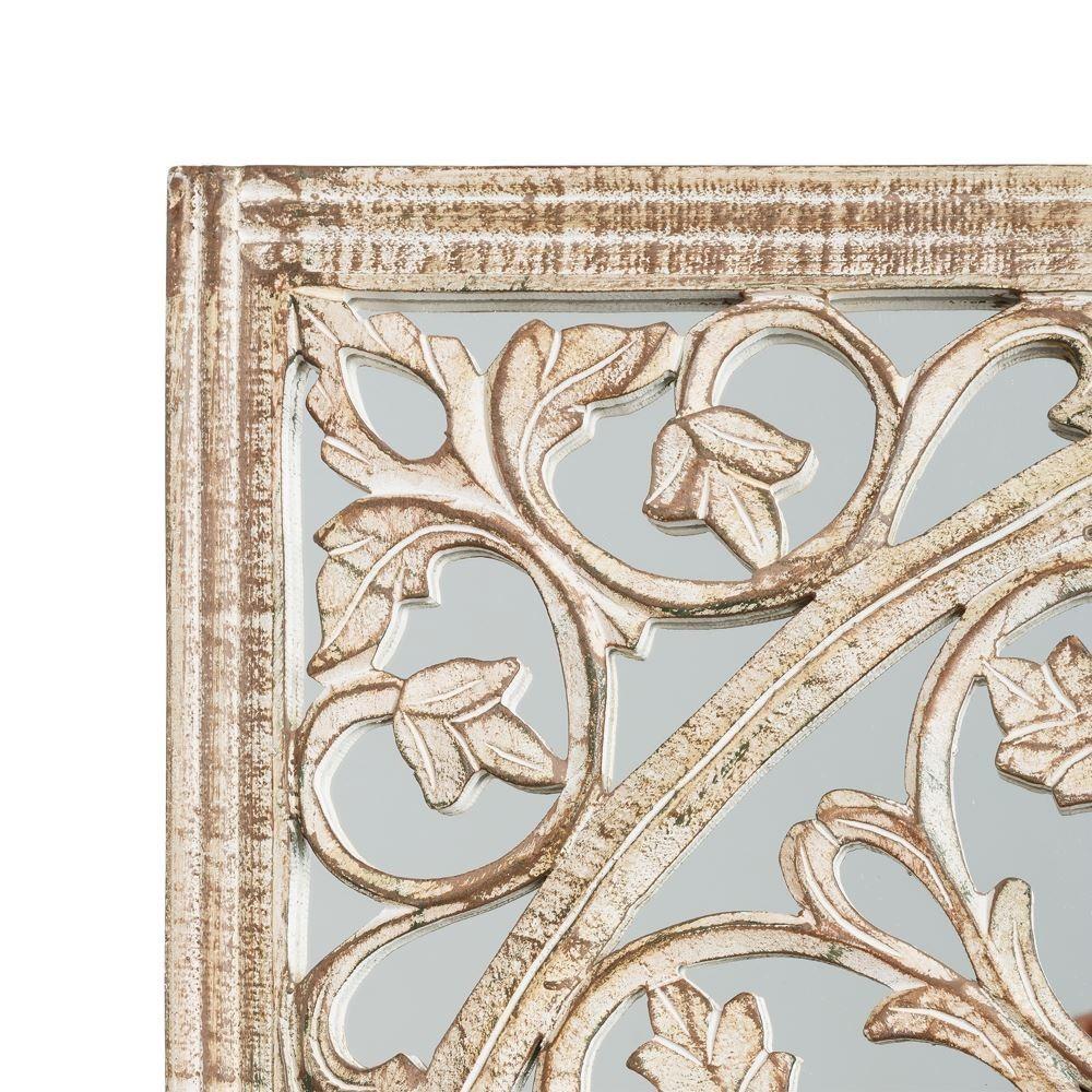 Specchio bianco shabby foglie etnico outlet mobili etnici - Specchio bianco ...