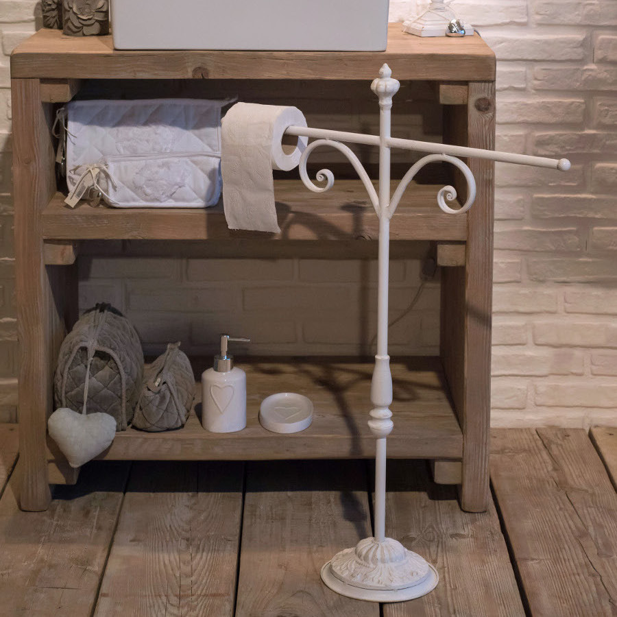Porta asciugamano in ferro bianco etnico outlet mobili - Mobili porta asciugamani bagno ...