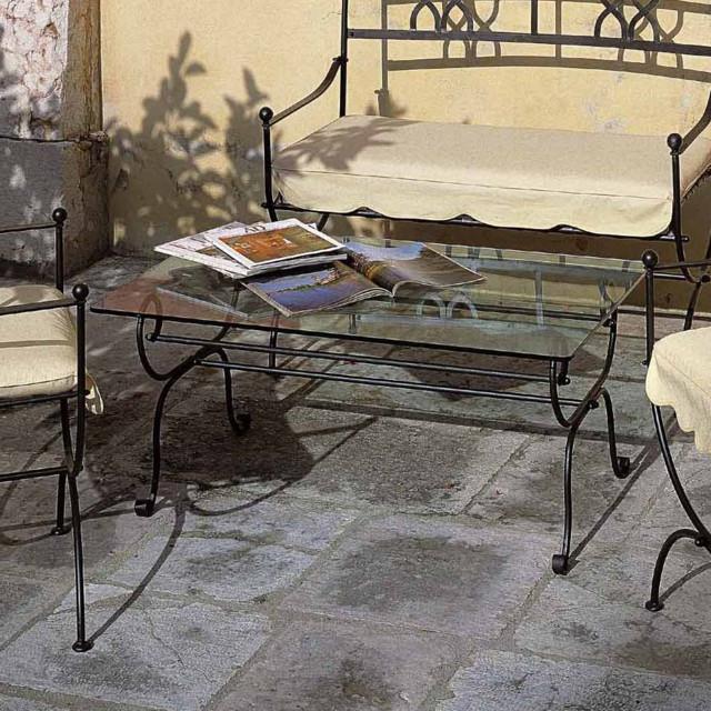 Tavolino in ferro con vetro - Etnico Outlet mobili etnici