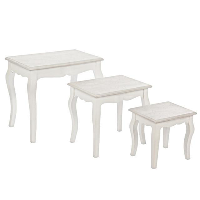 Set 3 tavolini provenzali mobili shabby chic for Tavolini bianchi