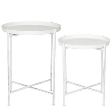 tavolini bianchi bassi in legno : set 2 tavolini metallo bianchi n prodotto jp58175 set tavolini ...