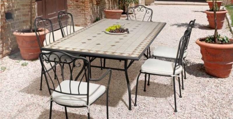 Tavolo ferro battuto mosaico mobili giardino online - Tavolo ferro battuto giardino ...