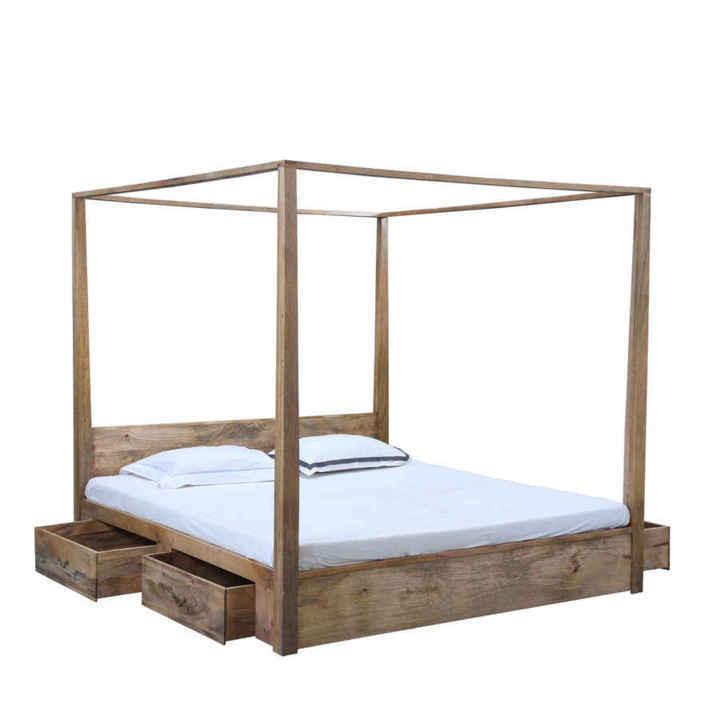 Letto baldacchino legno naturale letti coloniali - Letto a baldacchino in legno ...