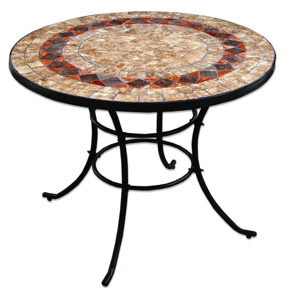 Tavolo rotondo con ceramica tavoli esterno online - Tavolo ferro battuto giardino ...